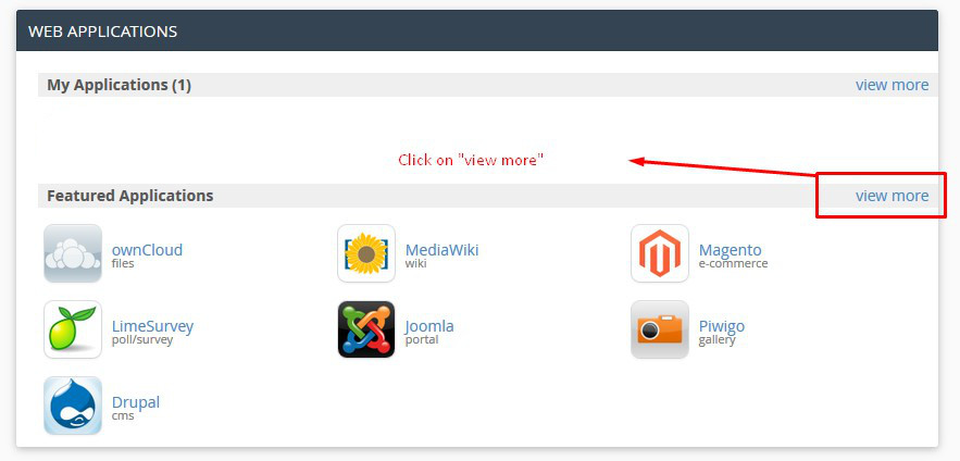 Web Application Section in cPanel