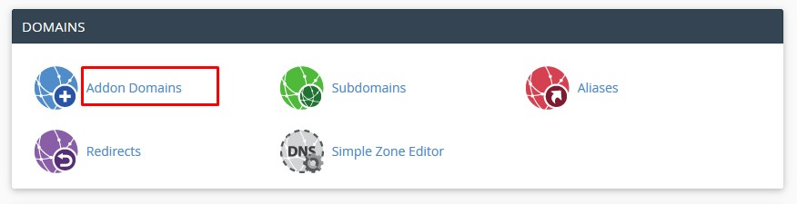 addon domain section cpanel121715
